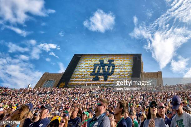 A general view of new Notre Dame Stadium Jumbotron during the NCAA football game between the Notre Dame Fighting Irish and the Temple Owls at Notre...