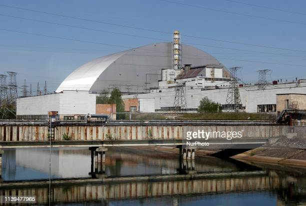 A general view of new protective shelter over the 4 nuclear reactor Unit at Chernobyl nuclear power plant in Kiev region Ukraine on 26 April 2019...