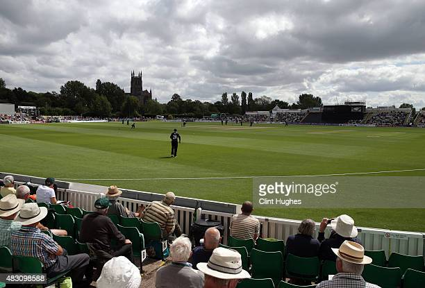 A general view of New Road during of the Royal London OneDay Cup match between Worcestershire and Yorkshire at New Road on July 30 2015 in Worcester...
