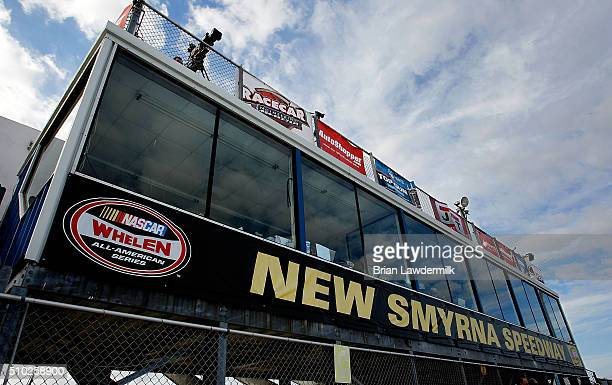 A general view of New Smyrna Speedway during practice for the NASCAR KN Pro Series East Jet Tools 150 at New Smyrna Speedway on February 14 2016 in...
