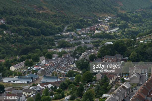 A general view of New Tredegar in the Rhymney Valley where child killer David Gaut was found dead on August 8 2018 in New Tredegar Wales Police have...
