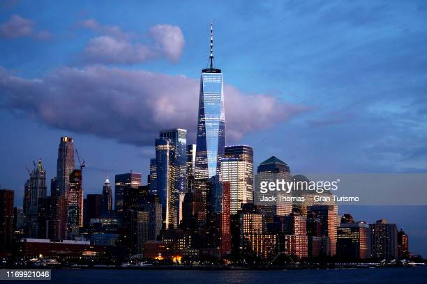 A general view of New York City as the sun sets during the Gran Turismo World Tour at the PlayStation Theater on August 23 2019 in New York City