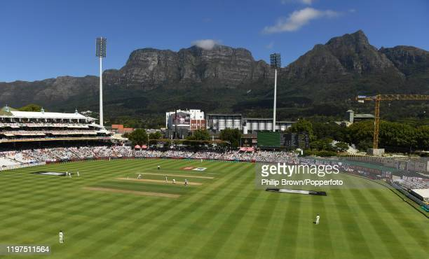 General view of Newlands as Ollie Pope and James Anderson of England bat during Day Two of the Second Test between England and South Africa on...