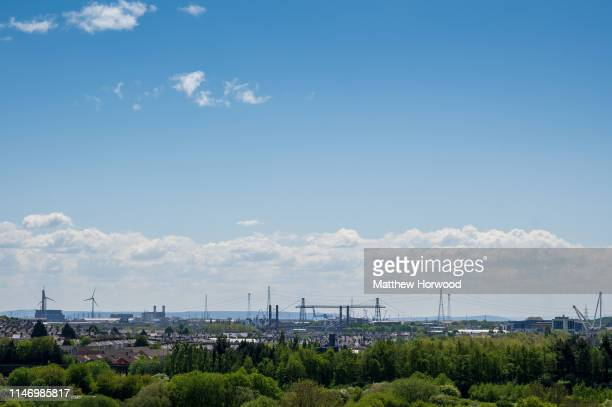 A general view of Newport city centre and Newport transporter bridge on May 4 2019 in Newport United Kingdom