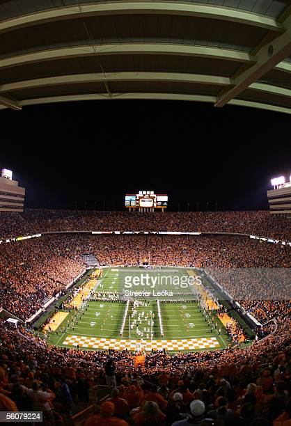General view of Neyland Stadium during pregame festivities prior to a NCAA game between the University of Tennessee Volunteers and the University of...