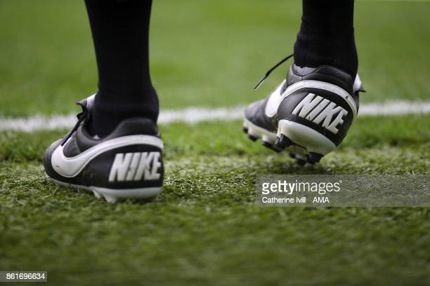 General view of Nike boots during the Premier League match between Brighton and Hove Albion and Everton at Amex Stadium on October 15 2017 in...