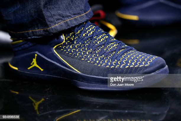 A general view of NIKE Jumpman Michigan Edition pair of basketbal shoes worn by former NFL Player and ESPN's Sunday NFL Countdown host Charles...