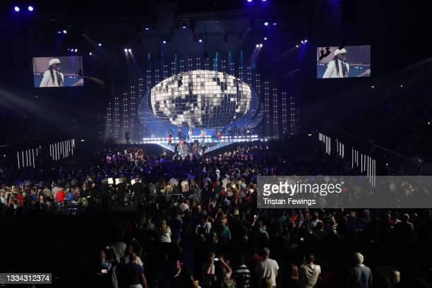 General view of Nile Rodgers and Laura Mvula on stage during The National Lottery's Team GB homecoming event at the SSE Arena Wembley on August 15,...