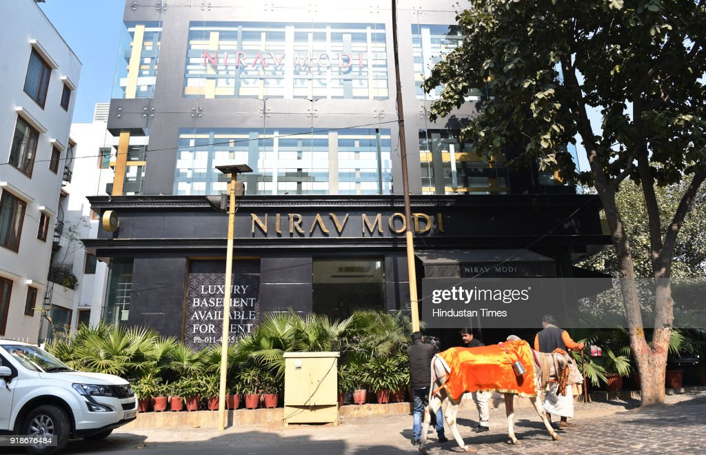 A general view of Nirav Modi's showroom after complaint by Punjab National Bank regarding money laundering case on February 15 2018 in New Delhi..