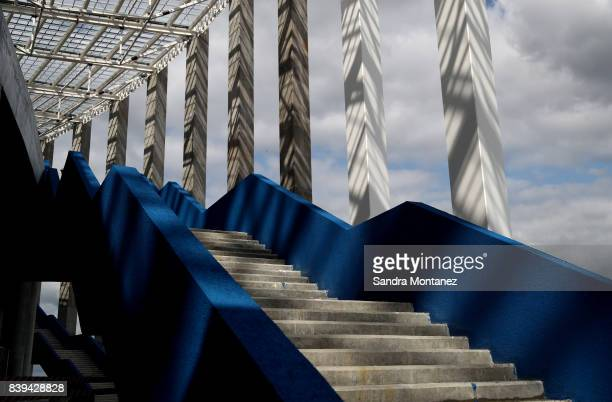 A general view of Nizhny Novgorod Stadium is seen during a media tour of Russia 2018 FIFA World Cup venues on August 26 2017 in Nizhny Novgorod Russia