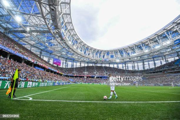 General view of Nizhny Novgorod Stadium with Antoine Griezmann of France during 2018 FIFA World Cup Quarter Final match between France and Uruguay at...