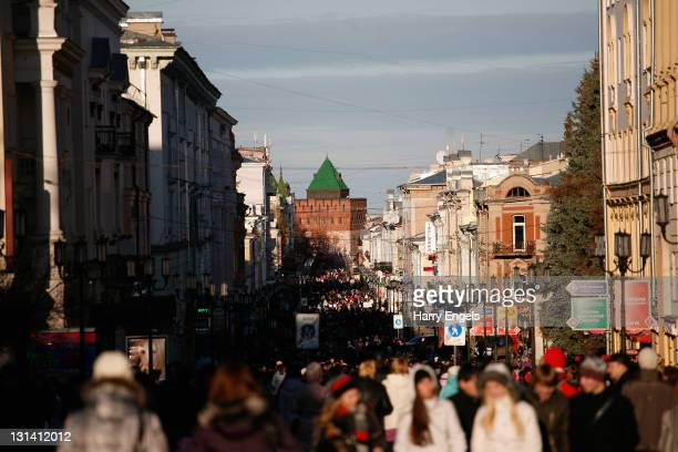General view of Nizhny Novgorod's main street on November 4, 2011 in Nizhny Novgorod, Russia. Nizhny Novgorod is one of thirteen cities proposed as a...