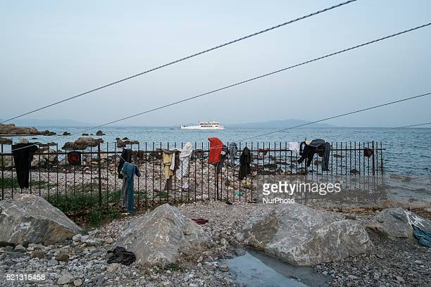 A general view of 'No Border Kitchen' refugee camp on April 15 2016 in Mytilene Greece The 'No Border Kitchen' is a small camp on a beach near...
