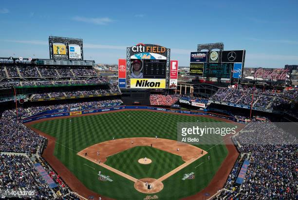General view of Noah Syndergaard of the New York Mets pitching against Yan Gomes of the Washington Nationals during the Mets Home Opening game at...