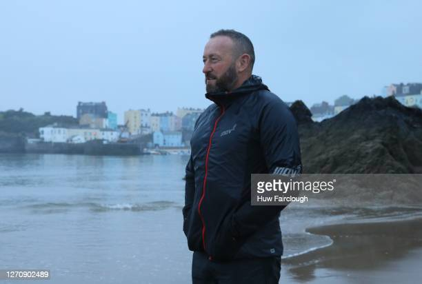 General view of North Beach Tenby, despite the race being cancelled due to Coronavirus Precautions an athlete visited the starting point of IRONMAN...