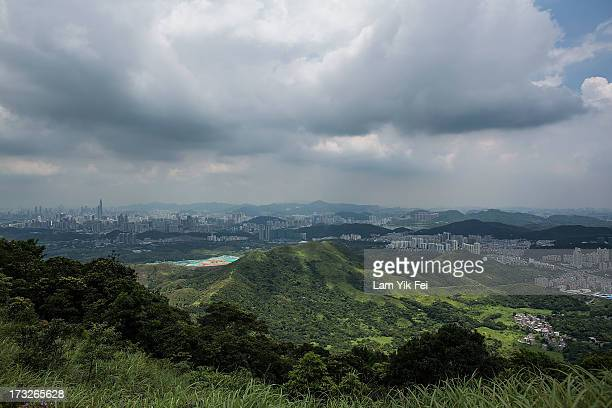 A general view of North East New Territories in front of the Shenzhen skyline taken from Ping Che village on July 11 2013 in Hong Kong China The...