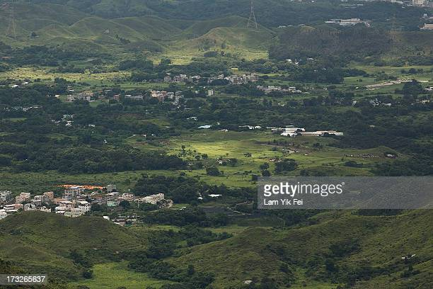 A general view of North East New Territories taken from Ping Che village on July 11 2013 in Hong Kong China The North East New Territories New...