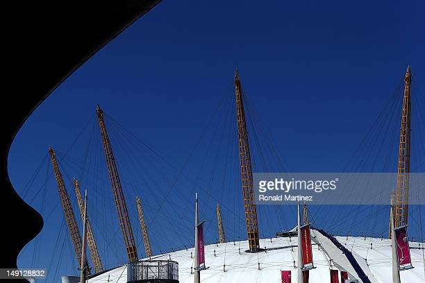 A general view of North Greenwich Arena that will host artistic gymnastics and basketball ahead of the 2012 Olympic Games on July 23 2012 in London...