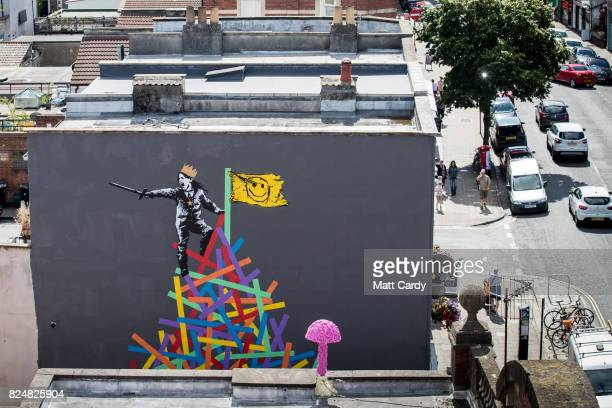 A general view of North Street and the new mural by artist Eelus on the final day of 'Upfest' Europe's largest street art festival on July 31 2017 in...