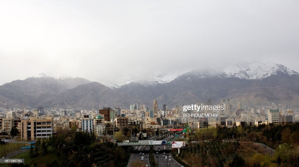 A general view of northern Tehran taken from Tabi'at (Nature) bridge on Modares highway during Noruz holidays on March 25, 2015. During the Noruz holiday the Iranian capital becomes less polluted than usual as many leave the city.