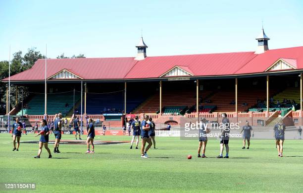 General view of Norwood Oval as players warm up before the 2021 AFLW Round 03 match between the Adelaide Crows and the Fremantle Dockers at Norwood...