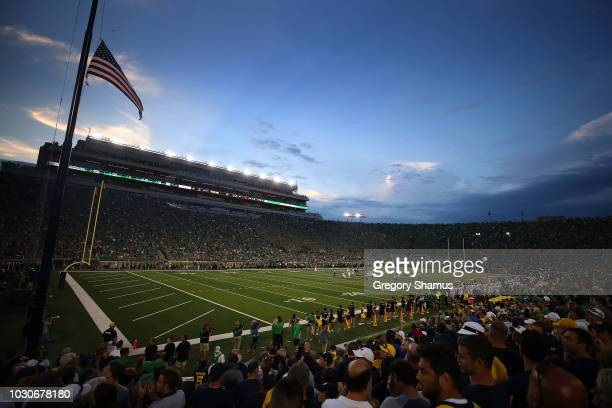 General view of Notre Dame Stadium during a game against the Michigan Wolverines on September 1 2018 in South Bend Indiana
