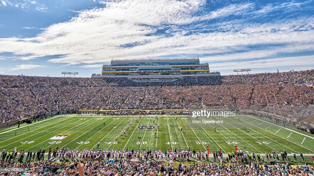 A general view of Notre Dame Stadium during the NCAA football game between the Notre Dame Fighting Irish and the Temple Owls at Notre Dame Stadium on September 2, 2017 in South Bend, Indiana.