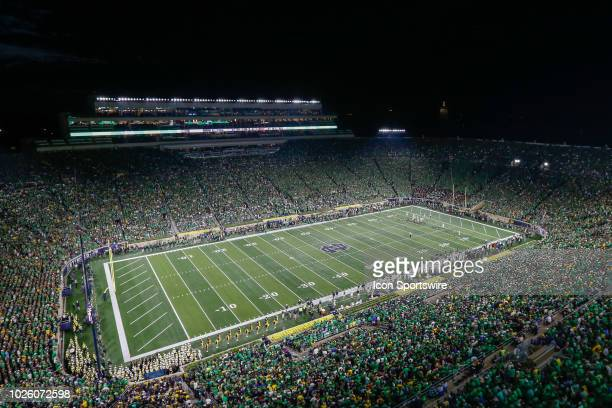 A general view of Notre Dame Stadium is seen during game action between the Michigan Wolverines and the Notre Dame Fighting Irish on September 1 2018...