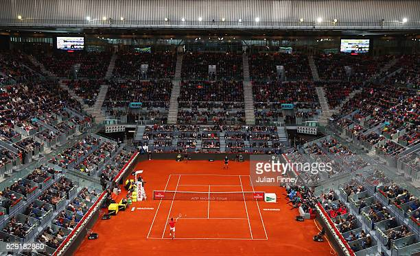 A general view of Novak Djokovic of Serbia and Andy Murray of Great Britain in action during the Men's singles final on day nine of Mutua Madrid Open...