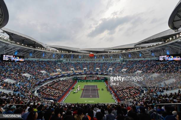 A general view of Novak Djokovic of Serbia hits a return against Alexander Zverev of Germany during their Singles Semifinals match of the 2018 Rolex...