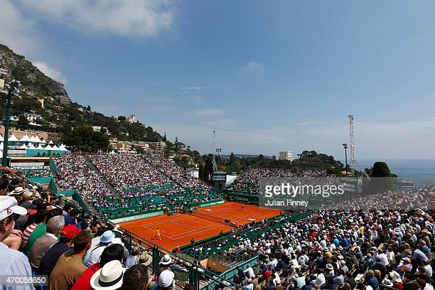 A general view of Novak Djokovic of Serbia in action against Marin Cilic of Croatia during day six of the Monte Carlo Rolex Masters tennis at the...
