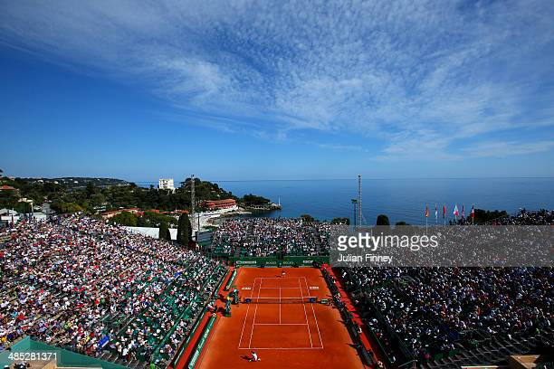 General view of Novak Djokovic of Serbia in action against Pablo Carreno Busta during day five of the ATP Monte Carlo Rolex Masters Tennis at...