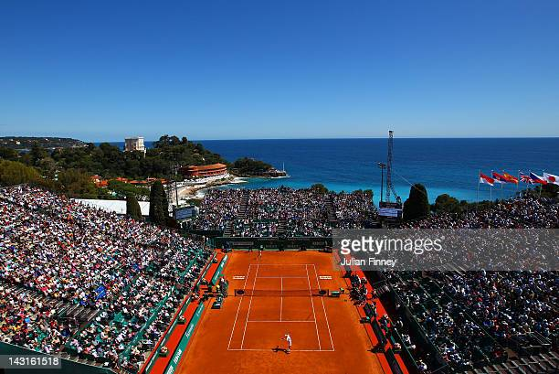 A general view of Novak Djokovic of Serbia serving in his match against Robin Haase of Holland during day six of the ATP Monte Carlo Masters on April...