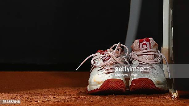 A general view of Novak Djokovic of Serbia trainers after he changed them during his match against Kei Nishikori of Japan during day seven of The...