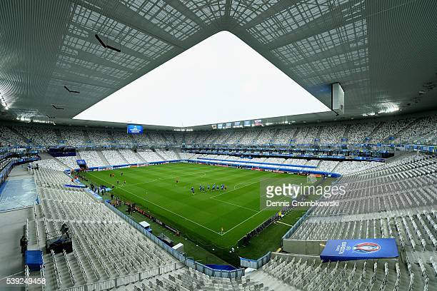 A general view of Noveau Stade de Bordeaux during a training session ahead of their UEFA Euro 2016 Goup B match at Nouveau Stade de Bordeaux on June...