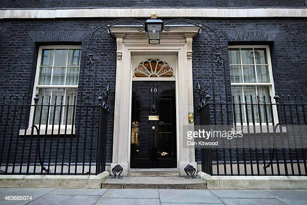 General view of Number 10 Downing Street's front door on February 17, 2015 in London, England.