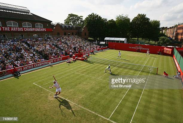 General view of number one court during the doubles first round match between Tim Henman of Great Britain and Lleyton Hewitt of Australia and Jordan...