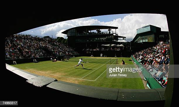 A general view of number two court during the Men's Singles third round match between Novak Djokovic of Serbia and Nicolas Kiefer of Germany during...