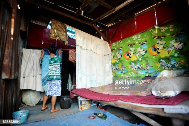 General view of Nurtinah's small hut Nurtinah a farm worker from Pucang Anom village Cerme subdistrict Bondowoso district East Java Province...