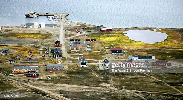 General view of NyAlesund is seen on July 11 2006 in Spitsbergen Svalbard Norway