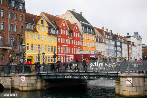 General view of Nyhavn, the old harbor of Copenhagen on Daily Life in Copenhagen on January 25, 2020 in Copenhagen, Denmark.