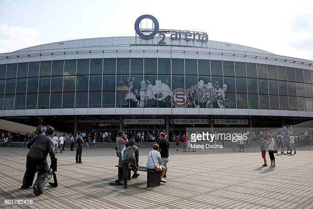 A general view of O2 Arena Prague before the 2016 World Cup of Hockey preparation match between Czech Republic and Russia on September 10 2016 in...
