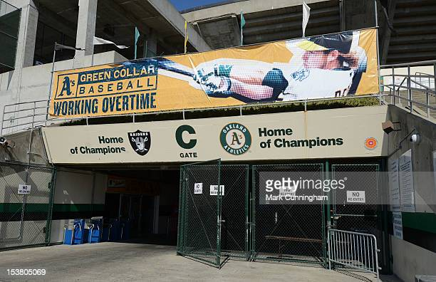 General view of Oakland-Alameda County Coliseum exterior during the American League Division Series Workout Day at Oakland-Alameda County Coliseum on...