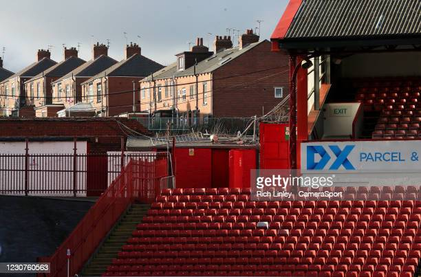 General view of Oakwell, home of Barnsley during the The Emirates FA Cup Fourth Round match between Barnsley and Norwich City at Oakwell Stadium on...