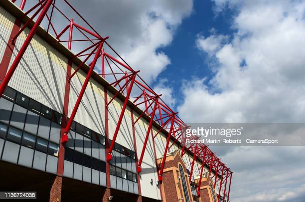 General view of Oakwell, home of Barnsley FC during the Sky Bet League One match between Barnsley and Fleetwood Town at Oakwell Stadium on April 13,...