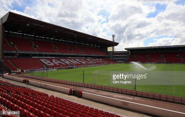 General view of Oakwell stadium during the pre season friendly at Oakwell Stadium between Barnsley and Huddersfield Town on July 22, 2017 in...