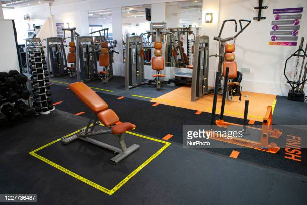 General view of Oasis Gym as Gyms and leisure centres in the UK prepare for reopening on Saturday 25th July by installing social distancing and COVID...