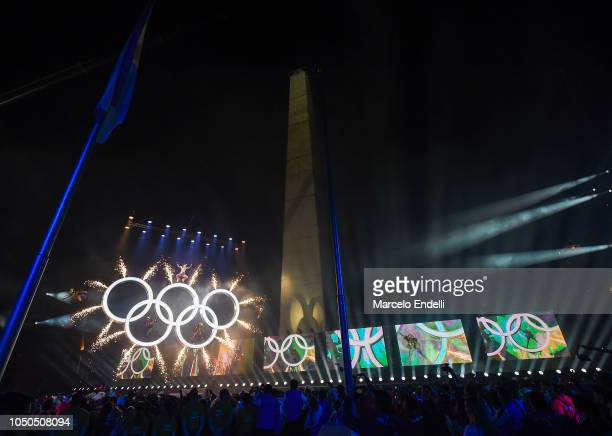 General view of Obelisco and the Olympic rings during the opening ceremony of the Buenos Aires 2018 Youth Olympic Games at Obelisco monument on...