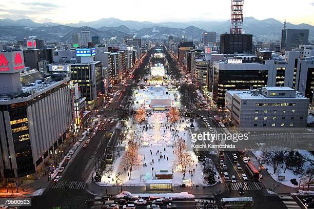 General view of Odori Park prepared for Sapporo Snow Festival 2008 on February 4 2008 in Sapporo Japan The 59th Sapporo Snow Festival takes place...
