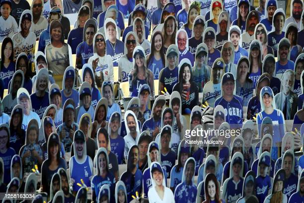 A general view of of cardboard cutouts placed in the seats before the game between the Los Angeles Dodgers and the San Francisco Giants at Dodger...